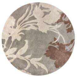 nuLOOM Handmade Pino Emblem Beige Floral Rug (6' Round)