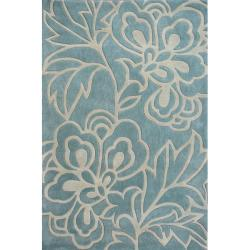 nuLOOM Handmade Pino Floral Blue/ Grey Rug (7'6 x 9'6)