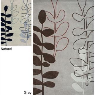 nuLOOM Handmade Pino Sword Fern Floral Rug (7'6 x 9'6)