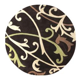 nuLOOM Handmade Pino Scroll Vines Brown Round Rug (6' Round)