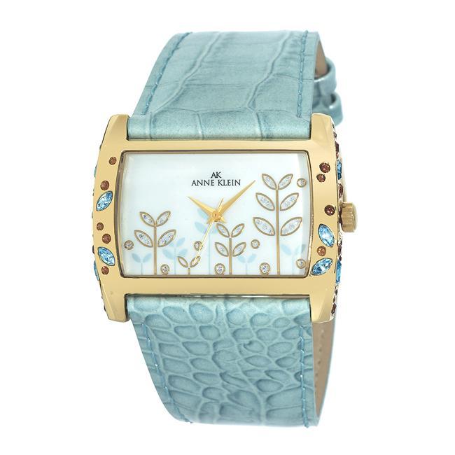 Anne Klein Womens 108914MPLB Green Leather Strap Watch