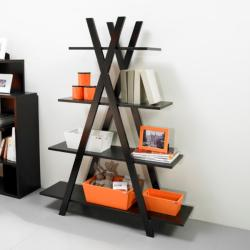 4-tier Black X-shape Bookcase