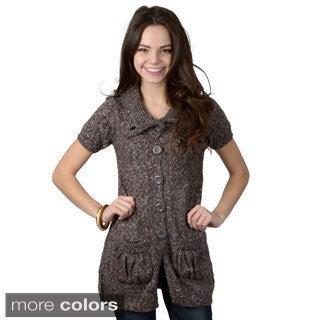 Ci Sono by Adi Juniors Short-sleeve Button-down Sweater