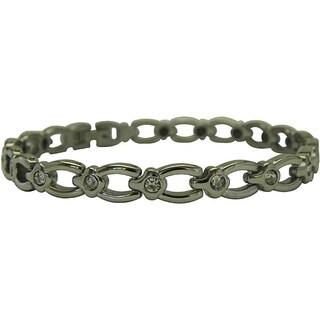 Titanium Magnetic Horseshoe and Crystal Bracelet