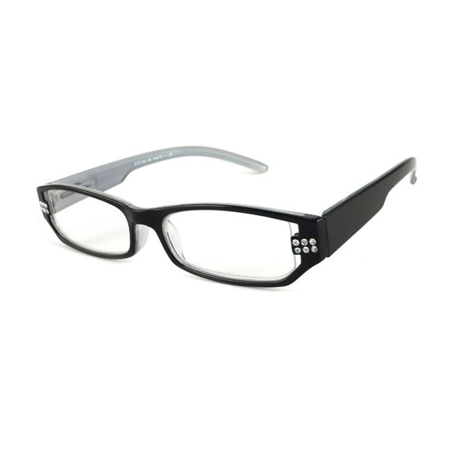 Urban Eyes Women's Crystal Black Reading Glasses