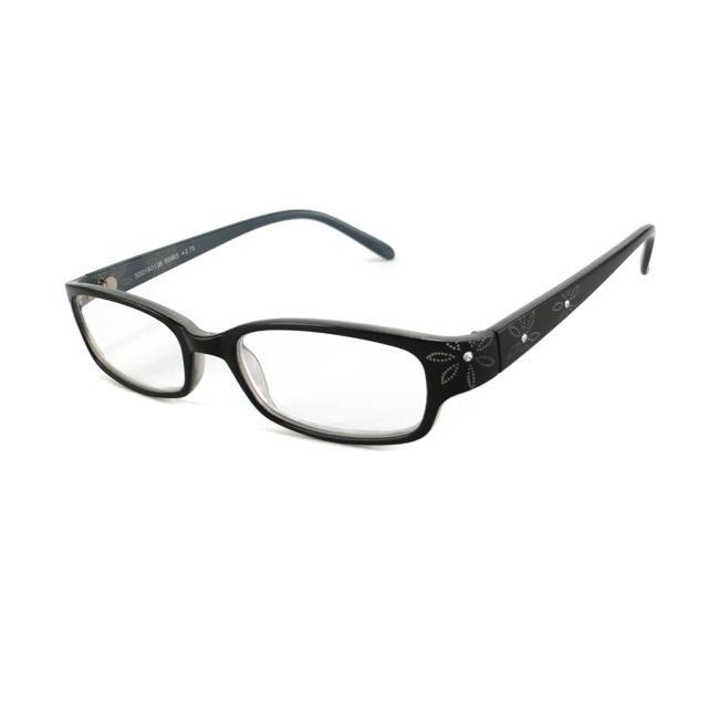 Urban Eyes Women's Crystal Floral Black Reading Glasses