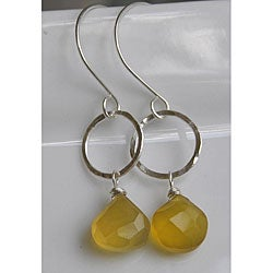 Sterling and Fine Silver Honey Chalcedony Earrings