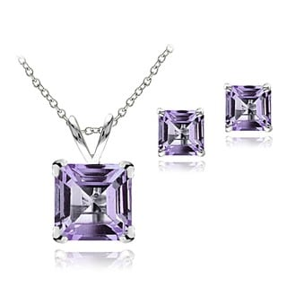 Glitzy Rocks Sterling Silver Square Amethyst Solitaire Earring and Necklace Set