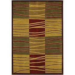 Hand-Knotted Green/Gold/Burgundy Mandara Wool Rug (7'9 x 10'6)