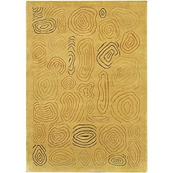 Hand-Knotted Green/Gold/Brown Mandara Wool Rug (7'9 x 10'6)