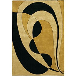 Hand-Knotted Black/Tan/Gold Mandara Wool Rug (7'9 x 10'6)