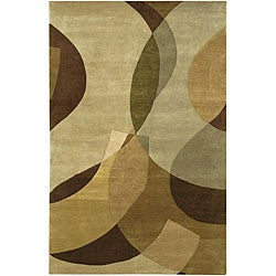 Hand-Knotted Tan/Brown Green Mandara Wool Rug (7'9 x 10'6)