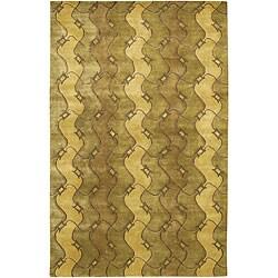 Hand-Knotted Mandara Green Geometric Wool Rug (7'9 x 10'6)