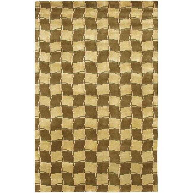 "Hand-Knotted Geometric-Print Mandara Gold Wool Rug (7'9"" x 10'6"")"