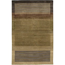 Hand-knotted Mandara Brown Wool Rug (7'9 x 10'6)