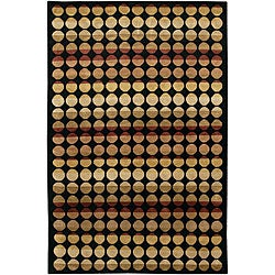 Hand-knotted Mandara Brown Dot Wool Rug (7'9 x 10'6)