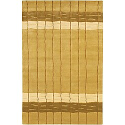 Hand-knotted Mandara Gold Wool Rug (7'9 x 10'6)
