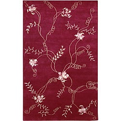 Hand-knotted Mandara Red Floral Wool Rug (8' x 10'6