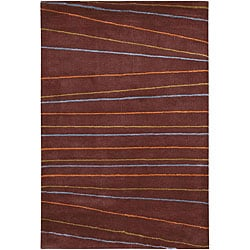 Hand-Tufted Striped Brown Mandara Wool Rug (7'9 x 10'6)