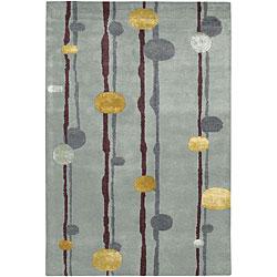 Hand-Tufted Steel-Blue Mandara Wool Rug (5' x 7'6)