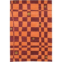 Hand-Tufted Orange/Red Mandara Wool Rug (7'9 x 10'6)