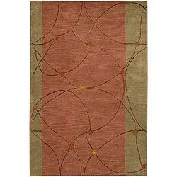 Hand-Tufted Green/Brown Mandara Wool Rug (5' x 7'6)