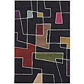 Hand-Tufted Mandara Abstract Black Wool Rug (5' x 7'6)