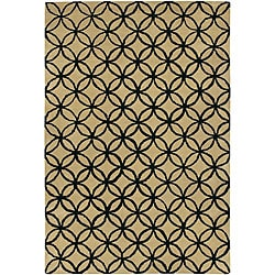 Hand-Tufted Mandara Beige New Zealand Wool Area Rug (5' x 7'6)
