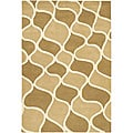 Hand-Tufted Mandara Beige New Zealand Transitional Wool Rug (5' x 7'6)