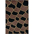 Hand-Tufted Mandara Black Transitional New Zealand Wool Rug (5' x 7'6)