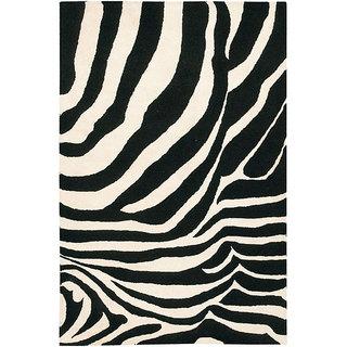Hand-tufted Gammin Zebra New Zealand Wool Rug (5' x 7'6)