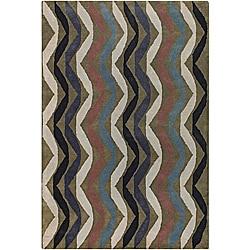 Hand-Tufted Abstract Stripe Mandara Wool Rug (5' x 7'6)