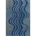 Hand-Tufted Mandara Contemporary Blue Wool Rug (7'9