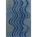 "Hand-Tufted Mandara Contemporary Blue Wool Rug (7'9"" x 10'6"")"