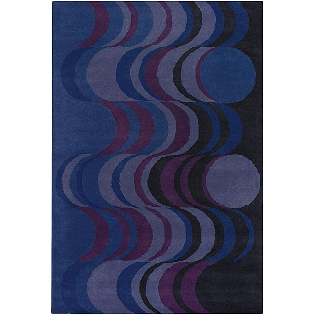 Hand-tufted Mandara Blue Wool Rug (7'9 x 10'6)