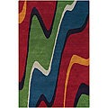 Bold Hand-Tufted Mandara Red Wool Rug (7'9 x 10'6)