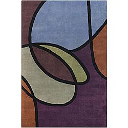 Hand-Tufted Multicolor Geometric Mandara Wool Rug (5' x 7'6)