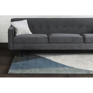 "Modern Hand-Tufted Mandara Gray Wool Rug (5' x 7'6"")"