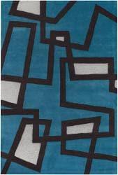 "Hand-Tufted Mandara Geometric-Print Blue Wool Rug (7'9"" x 10'6"")"
