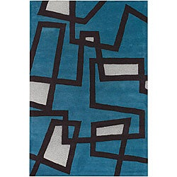 "Hand-Tufted Mandara Geometric-Print Blue Wool Rug (7'9"" x 10'6"")"
