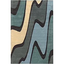 "Contemporary Hand-Tufted Mandara Multicolor Wool Rug (7'9"" x 10'6"")"