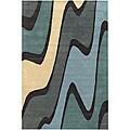Contemporary Hand-Tufted Mandara Multicolor Wool Rug (7'9