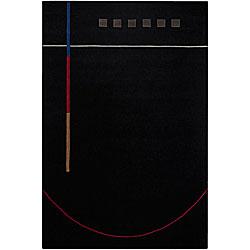 Hand-Tufted Mandara Geometric Black Wool Rug (5' x 7'6)