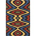 Hand-Tufted Mandara Multicolor Geometric Wool Rug (7'9