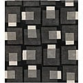 Large Hand-Tufted Mandara Gray Wool Rug (5' x 7'6