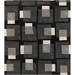 Jumbo Hand-Tufted Mandara Gray Wool Rug (7'9