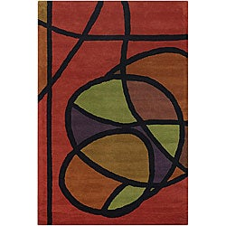 Hand-tufted Mandara Orange Wool Rug (5' x 7'6)