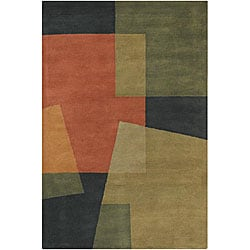 Hand-Tufted Mandara Green Color-Blocked Wool Rug (7'9 x 10'6)