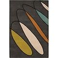 Hand-Tufted Contemporary Mandara Brown Wool Rug (7'9 x 10'6)