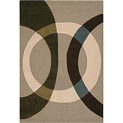 "Hand-Tufted Mandara Beige New Zealand Wool Rug (7'9"" x 10'6"")"
